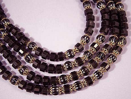 WEST GERMANY Vintage 4 Strand Black Bead Necklace