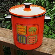 Orange Enamelware Stockpot, Steamer, Orange