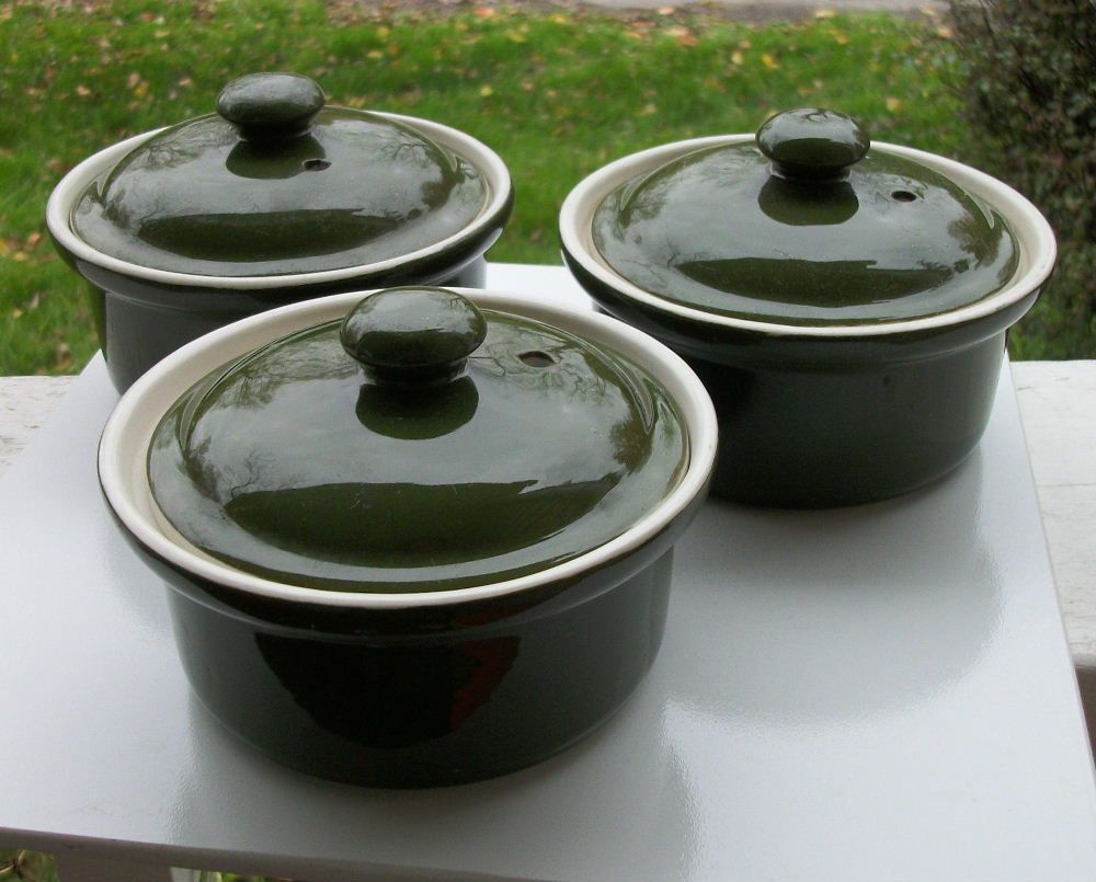 Set of Three Hall Individual Lidded Casseroles, Green