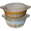 Pair of Pyrex Butterfly Gold Refrigerator Dishes, Casseroles