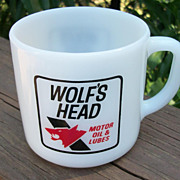 Vintage Wolf's Head Motor Oil Coffee Mug, Advertising