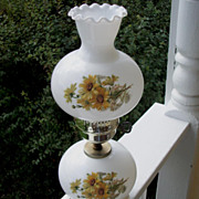 Hurricane StyleTable Lamp, Yellow Floral