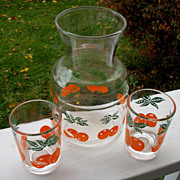 Vintage Orange Juice Pitcher With Tumblers