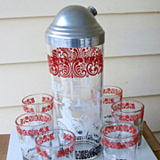 Vintage Cocktail Shaker Set With 6 Tumblers, Hazel Atlas