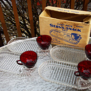 SOLD New In Box, 8 Piece Anchor Hocking Crystal and Ruby Red Glass Snack Set
