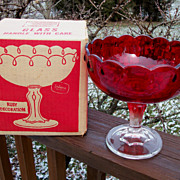 Indiana Glass Ruby Red Compote, Box Included