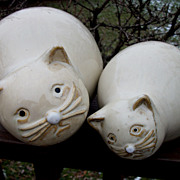 Pair of Large Fat Cats, Nantucket Pottery , Nantucket China
