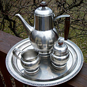 Mid Century Oneida Stainless 5-Piece Tea/Coffee Service