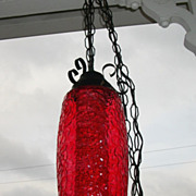 Vintage Swag Lamp, Red With Diffuser, Mid Century Modern 1960-70's