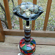 SOLD Smoking Stand, Pedestal Ashtray, Lighted Stained Glass