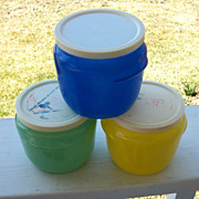 Three Glasbake Honey Pots, Colorful