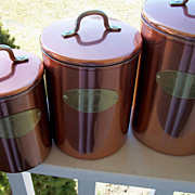 SOLD 4 Piece Canister Set, Lined Copper & Brass w/Lids Marked 'De La Cuisine