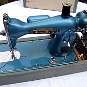 Sewing Machine HOME MARK Vintage Blue Metallic With Case
