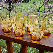 Set Of 6 Libbey Pine Cone Tumblers, Honey Amber