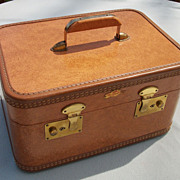 SOLD Vintage Train Case, Saddle Brown, Nu-Slant by Allied