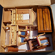 Vintage Set, 8 Piece Set of Doll House Furniture