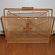 Vintage Wire Mesh Magazine Rack Holder