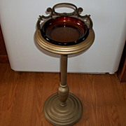 SOLD Pedestal Ashtray, Smoking Stand, Ornate Brass Handle