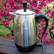 Vintage Farberware Stainless Steel Electric Percolator, 8 Cup