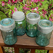 4 Aqua Blue Canning Jars, Atlas Mason And Ball, Zinc & Glass Lids