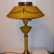 Vintage Mid Century Mustard Yellow Tole Table Lamp with Metal Shade