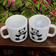 Two Glasbake Panda Coffee Mugs