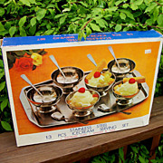 Vintage Stainless Steel Ice Cream Sundae Set, New In Box