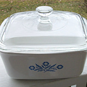 SOLD Corning Ware 1 1/2 Quart Covered Baking Dish, Blue Cornflower