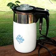 Corning Ware 10 Cup Electric Percolator, Coffee Maker, Blue Cornflower
