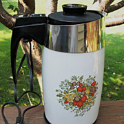 Corning Ware 10 Cup Electric Percolator, Coffee Maker, Spice Of Life