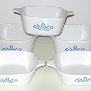 SOLD Five Corning Ware Blue Cornflower Petite Baking Dishes  -  Two Sizes