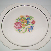Pretty Harker Pottery Petit Point Floral Cake Plate