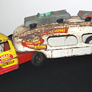 REDUCED Vintage Marx Toy  Lumar Auto Transport - Truck  and Trailer with Two Tootsie Cars