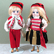 "Great 5 1/2"" Pr. ABG All Bisque Dolls ~ PW Eyes & Yellow Boots!"