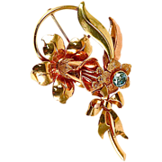 14K Gold with 1 Carat Blue Zircon and Three Shades of Gold Brooch