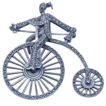 Deco Sterling and Marcasite Man on a Bicycle Brooch