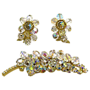 Juliana Designer Demi of Brooch and Earrings in Clear AB Stones and Beads
