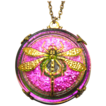 Czech Molded Glass Pendant with Gilt Dragonfly Circa Early 1900�s