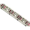 Deco A.L.L.CO Designer Signed Red and White Rhinestone Bracelet