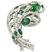 1940�s Rare Emerald and Crystal Colored Rhinestones Brooch