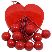 Bakelite Heart with Cherry Dangles Brooch