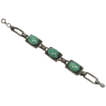 Deco Silver Plate and Green Satin Glass Cabochons Bracelet