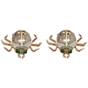 Rare Pair of Coro Sterling Vermeil Designer Signed Jelly Belly Beetle Fur Clips