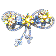 Juliana Ice Blue and Clear Aurora Bow Brooch