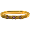 Victorian Gold Plated Hinged Bangle with Three Amethyst Stones