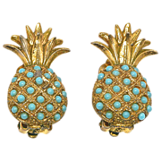 Ciner Designer Signed Pineapple Shaped Earrings