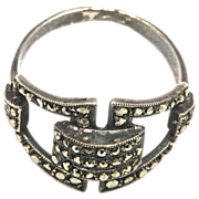 Deco Sterling and Marcasite Ring