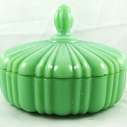 FREE SHIPPING 1940's 1940s Vintage Covered Fire King Jadeite Covered Candy Dish Home Decor Pum