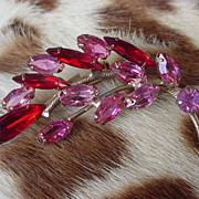 SALE Vintage Pink & Red Rhinestone Brooch