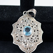 FREE SHIPPING SALE 1980's 1980s Sterling Repose Floral Hand Done Signed Pendant Blue Crystal